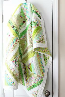 SCRAPPY STRING QUILT  / GREENS ~ New Handmade Baby Girl Quilt