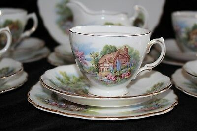 vintage ROYAL VALE 40s bone china tea set THE MILL COUNTRY COTTAGE 19pce