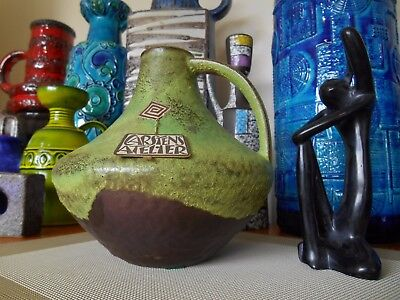 Retro 60's fat lava vase, vintage Carstens West German mid century Boho pottery