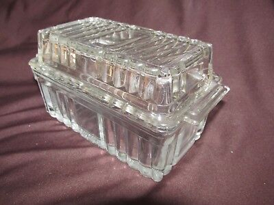 Antique Ribbed Clear Glass Refrigerator Cheese Butter Lidded Dish Canister 18CmL