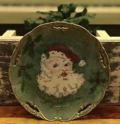 Vintage 1959 Hand Painted Christmas Plate by Adeline Turner Santa Claus