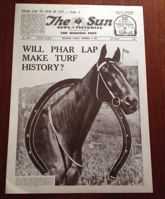 The Sun Newspaper Melbourne Front Page Phar Lap Melbourne Cup Nov 1931
