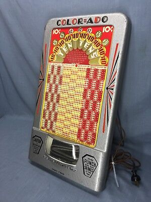 RARE 1930's COLOR=ADO ~ Trade Simulator Punch Board Holder Counter Top Gambling
