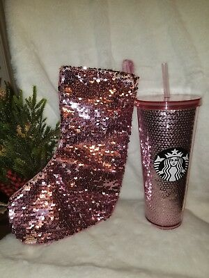 Starbucks 2017 Limited Edition Pink Sequin 24oz Tumbler Cup and bonus stocking