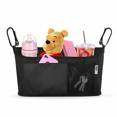 Baby Stroller Organizer Cup Holder Pockets Durable & Two Hooks for Accessories