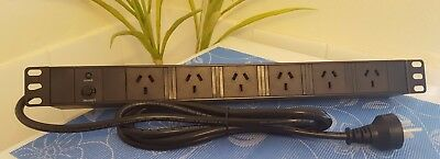 """240v Power Board 19"""" Horizontal 6 Way Power Rail - 1RU (Safety Button Protected)"""