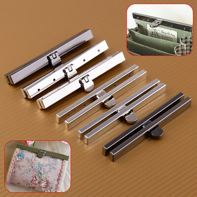 2 Set Purse Wallet Frame Bar Edge Strip Clasp Metal Openable Replacement + Screw