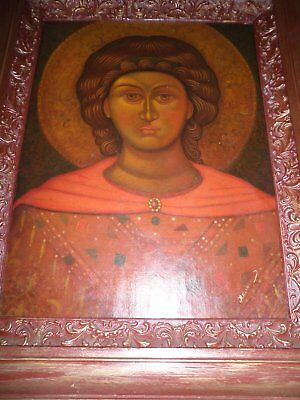 Old Framed Russian Icon On Canvas