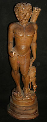 Vintage Decorative wooden Hunter Holding Deer Figure Rare old Indian Collectible