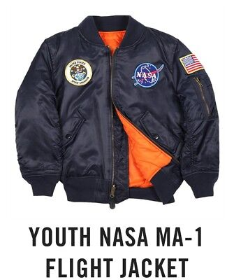 NASA MA-1 Flight Bomber Jacket ALPHA INDUSTRIES Kids Toddler Size 2T Reversible