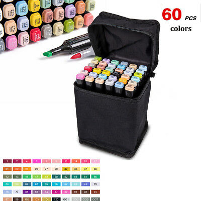 60 Color Set Touch Five Alcohol Graphic Art Twin Tip Pen Marker Broad Fine Point