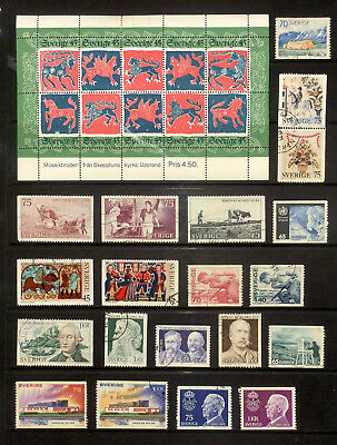 Selection of used stamps from Sweden 1973-74