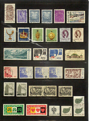 Selection of used stamps from Sweden 1970-71