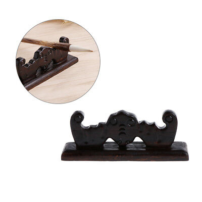 Vintage Wooden 4 Slots Brush Rest Stand Chinese Calligraphy Pen Rack Holder New