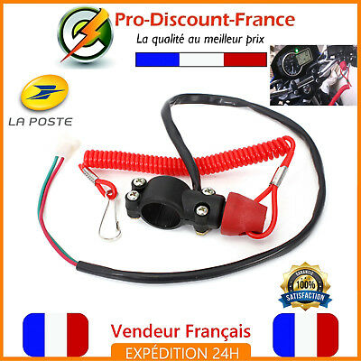 Coupe Circuit Moto Scooter Quad Jet Ski Pocket Cross Urgence Antivol 12V Rouge