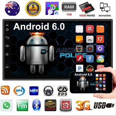 "Car Radio Stereo MP5 Player Android 6.0 Quad Core 3G WIFI 7"" Double 2DIN GPS AU"