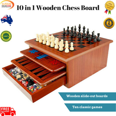 New 10 in 1 Wooden Chess Board Games Slide Out Best Checkers House UnitSet brown