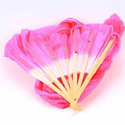 WHATWEARS 1.8m Colorful Belly Dancing Silk Bamboo Veils Dance Long Fans New