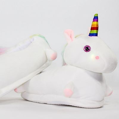 Light Up Unicorn Slippers Soft Girls Womens Plush LED One Size Fits All