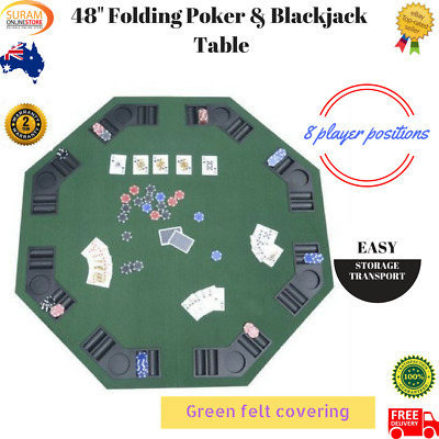 "New 2 in 1 48"" green octagon Folding Poker & Blackjack Table top 8 player drink"