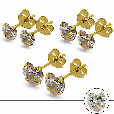 9Ct Gold Cz Studs White Cubic Zirconia Heart Shape Claw Set Stud Earrings Boxed