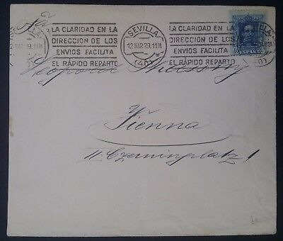 SCARCE 1929 Spain Cover ties 40c blue King Alfonso XIII stamp canc Sevilla