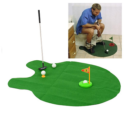 Toilet Mini Golf Potty Putter Bathroom Game Novelty Putting Gift Toy Trainer Set