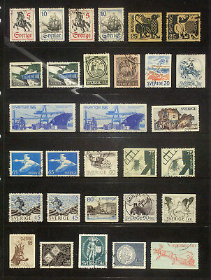 Selection of used stamps from Sweden 1967-72