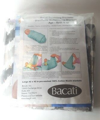 new Bacati Ikat Lilac/grey Dots/leopard Swaddling Muslin Blankets Set of 4