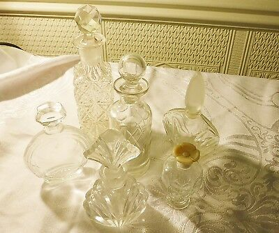 Exquisite Vintage Antique Collection 6 Perfume Bottles Glass Some Cut Stoppers
