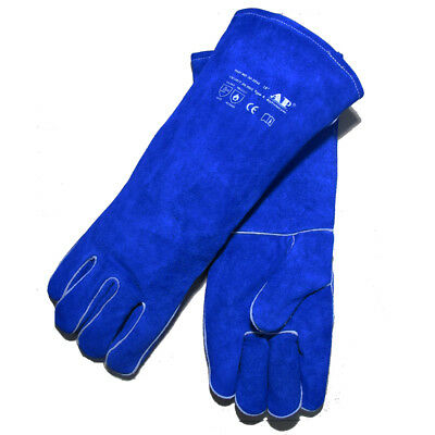 "AP-2054 Extra Long 18"" Blue A Grade FR Split Cowhide Welding Gloves Size XL"