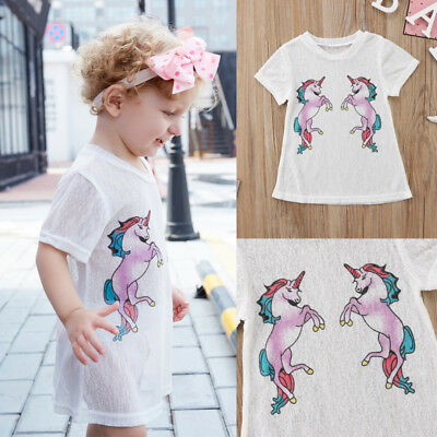 AU Stock Cute Kids Baby Girl Unicorn Dress See-through Tulle T-shirt Top Clothes
