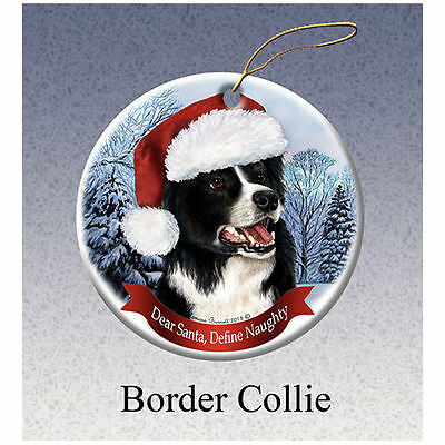 Border Collie Howliday Porcelain China Dog Christmas Ornament