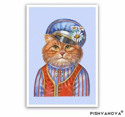 The Ginger Cat Art Print - Cat Gifts, Children Room, Poster in Russian Costume