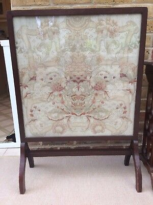 Mahogany  Fire Screen with Glass Screen and Tapestry Insert