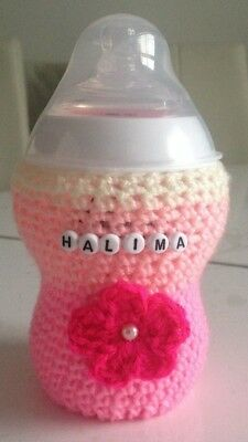 hand crochet PERSONALISED 3D FLOWER baby bottle cover tomme tippee avent MAM Nuk