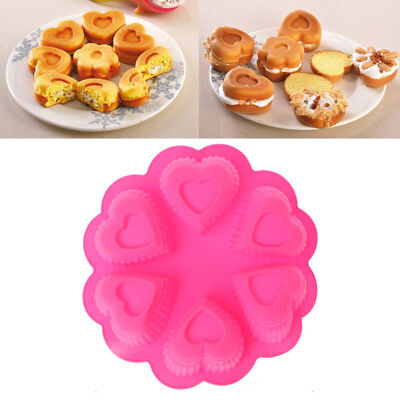6-Cavity Heart-shaped Silicone Mould Cake Chocolate Soap Mold Cupcake Baking Pan