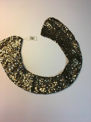 Women's Bling Gold Sequins Detachable Collar Nordstrom Necklace Black