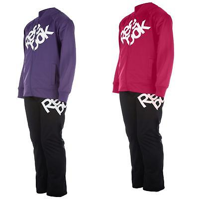 Kids Reebok Casual Pink Jogging Bottoms Purple Girls Tracksuit Work Out Jacket