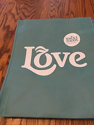 """(1)  Whole Foods  (Small)  """"Light Blue Love""""   Reusable Grocery  Bag"""