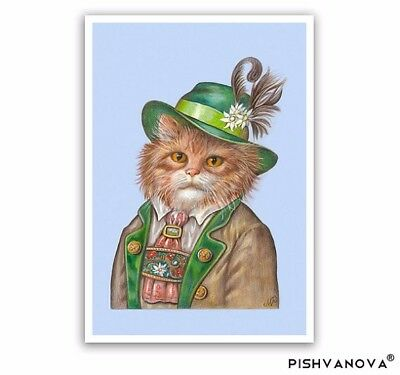 Mister Bavaria - Cat Art Print - Cat Gifts and Cat Wall - Bavarian, Oktoberfest