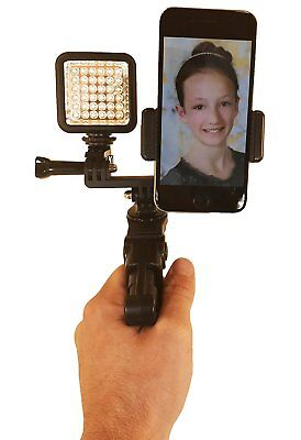 Octo Mount - Dual Device Tripod & Hand Grip Mount with LED Light. Works with 2
