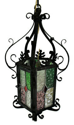 Vintage French Lantern Chandelier Pendant  Wrought Iron Leaded Stained Glass HTF