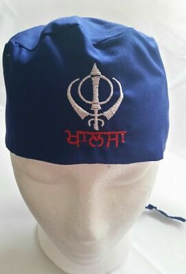 Sikh Punjabi Blue Kids Infants baby patka pathka Khanda bandana Head Wrap Gear