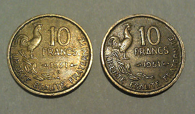 France 10 Francs pair aluminium-bronze 1951 French coins with & without B mark