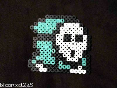 SUPER MARIO BROS. Sea Green Shy Guy Perler Bead Sprite Art of Ganene K. Handmade