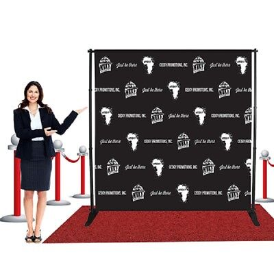 8'x 8'ft Heavy-Duty Step and Repeat Telescopic Banner Backdrop Stand Trade showw