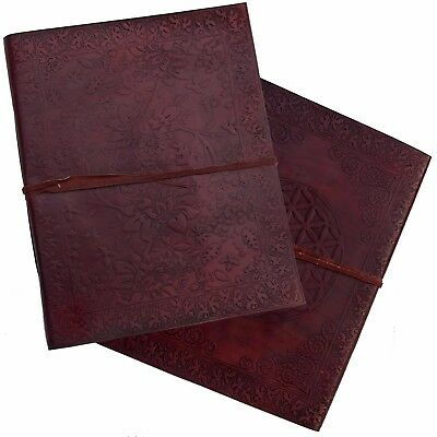 """13"""" Real Leather Handmade Floral Embossed Vintage Photo Album 2nd's Quality"""