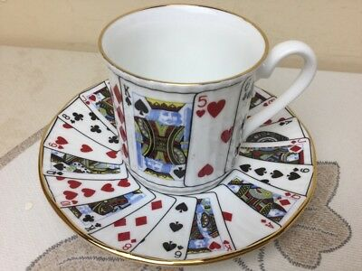 Queens Fine Bone China Cut For Coffee Coffee Can & Saucer Card Suits Superb
