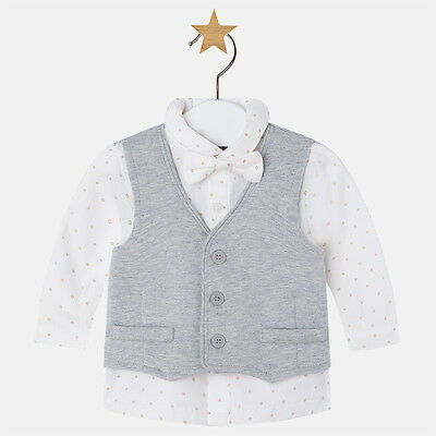 New Mayoral Baby Boy long sleeve shirt, bow tie and waistcoat. age 1-2 months